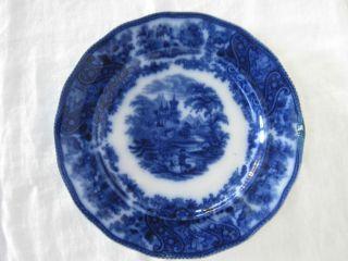 Victorian Flow Blue Plate Burgess Leigh Burslem Staffordshire England