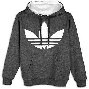 adidas Originals Big Logo Pull Over Fleece Hoodie   Mens   Dark Grey