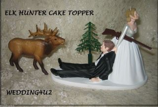 Humorous Wedding Elk Hunter Hunting Cake Topper