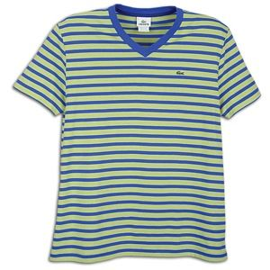 Lacoste V Neck Stripe S/S T Shirt   Mens   Equestrian Blue/Green