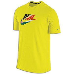 Nike Cruiser Run Swoosh Flag T Shirt   Mens   Electrolime/Reflective