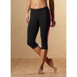Nike Tight Dri Fit Cotton Capri   Womens   Black Heather/Rave Pink