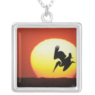 Brown Pelican Diving in Front of Setting Sun Personalized Necklace