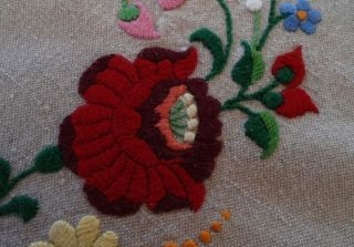 Tablecloth Topper Hungarian Embroidered Red Flowers Peppers