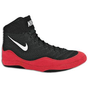 Nike Inflict   Mens   Wrestling   Shoes   Black/White/Game Red