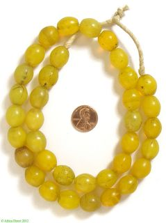 Yellow Hummingbird Egg Shaped Bohemian Glass Trade Beads African
