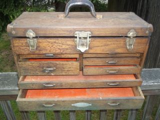 1950s Union Craftsman Quartersawn Oak Machinist Tool Chest
