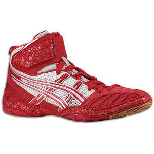 ASICS® Ultratek   Mens   Wrestling   Shoes   Red/Silver/White