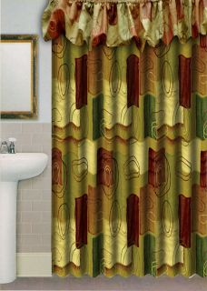 Fabric Shower Curtain with Balloon Valance Shower Curtain Rings Free