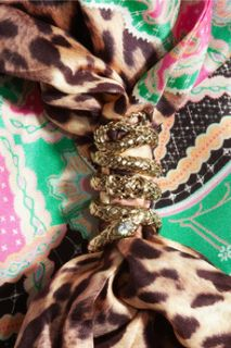 CLASS Roberto Cavalli Gold tone and crystal snake embellished silk scarf   75% Off