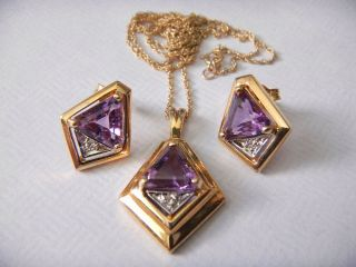 14k Gold Earring and Necklace Set Diamond Amethyst