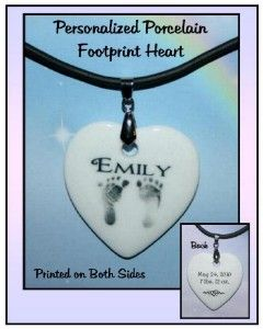 Personalized Porcelain Necklace Baby Name Footprint