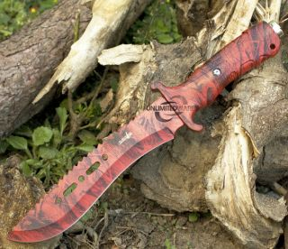 12 Survivor Red Camo Hunting Tactical Military Knife Survival Fixed