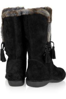 Stuart Weitzman Furlure suede and faux fur calf boots