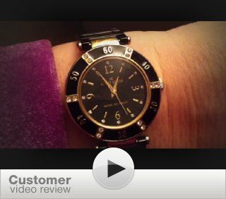 Anne Klein Womens 109416BKBK Swarovski Crystal Accented Gold Tone