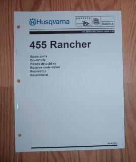 Husqvarna Rancher 455 Chain Saw Illustrated Parts List Manual