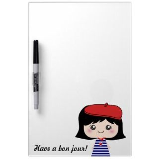 Cute Little French Girl Cartoon Dry Erase Whiteboard