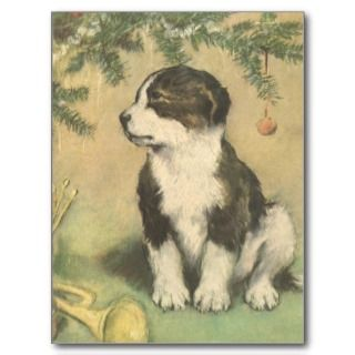 Vintage Christmas, Cute Puppy Under Christmas Tree Post Cards