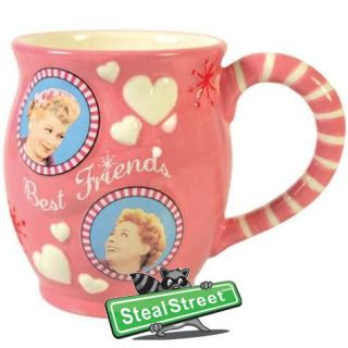 Love Lucy Best Friends Inscription Coffee Mug with Pink Heart Design
