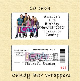 iCarly Birthday Invitations Thank You Cards Stickers Candy Wrappers