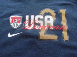 Landon Donovan 21 Soccer Mens T Shirt Team USA Logo World Cup Blue L