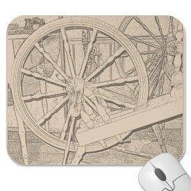 Antique Spinning Wheel Arts Crafts Mousepad mousepad