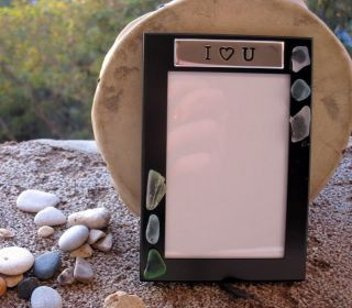 Love You Genuine Beach Sea Glass Photo Frame Gift Eco Friendly