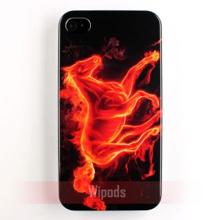 Flaming Fire Horse Black Plastic Hard Case Cover Skin for Apple iPhone