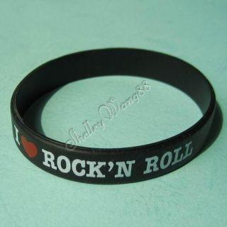 Silicone Black Rubber Bangle Elastic Belt Bracelet I Love RockN Roll