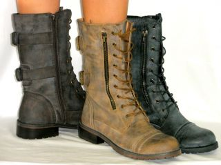 Adjustable Combat Military Flat Distressed Riding Boots