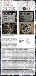 FOUR Ion Alloy (#171) Wheels Rims   2 15x8 (#171 5865P) & 2 15x10
