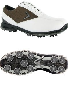 Brand New Callaway RAZR Mens Leather Golf Shoe 10 5M White Brown