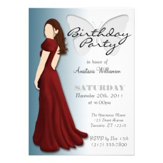 Model Butterfly Elegant Birthday Party Invitations