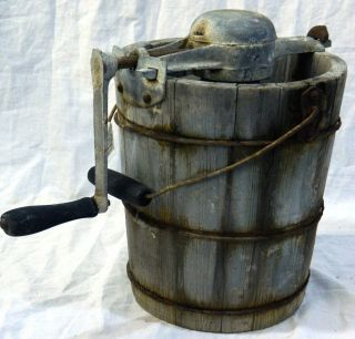 Antique Ice Cream Maker Freezer Machine w Hand Crank Late 1800s Early