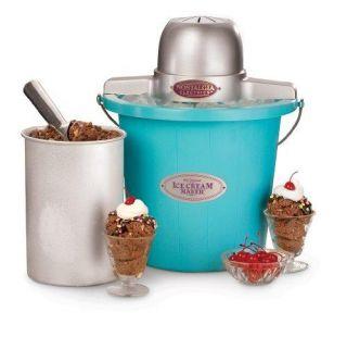 Electrics ICMP 400BLUE 4 Quart Plastic Bucket Ice Cream Maker, Blue