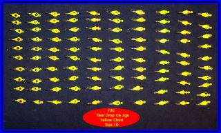 100 Tear Drop Ice Fishing Jigs Size 10 Gold Hooks Yellow Chart