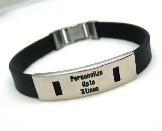 Personalized Stainless Steel Rubber ID Bracelet Black