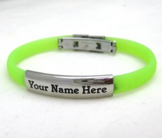 Personalized Stainless Steel Rubber ID Bracelet Green