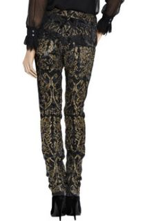 Roberto Cavalli Metallic brocade skinny pants   75% Off