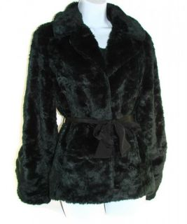 Womens Beaver Coat by Ideology Black Faux Fur Jacket Size Large