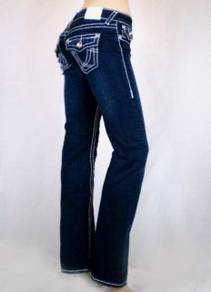 La Idol Dark Blue Jeans White Stitching Bootcut Sz 0 15