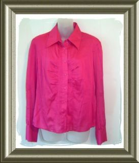 Look Womens Ideology Pink Dress Shirt Top L XL 12 14