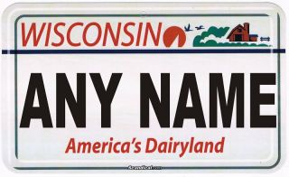 Personalized Custom Wisconsin License Plate Room Sign