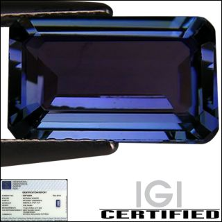 IGI Certified 2 66 ct AA Natural DBlock Tanzanite Emerald Cut Blue