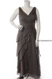 Ignite Evenings by Carol Lin New Womens Beads Chiffon Dress Dark Moss