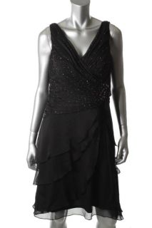 Ignite Black Chiffon Sequin Front V Neck Tiered Cocktail Evening Dress