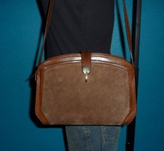 Vintage Italian Brown Leather & Suede Satchel Tote Purse Shoulder Bag