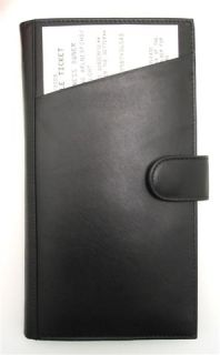Ili Black Leather Passport Travel Wallet Ticket Holder New