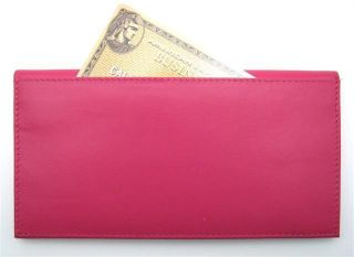 Ili Leather Checkbook Cover Credit Card Holder Fuchsia Leather New