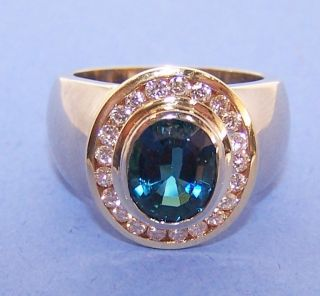 ILKA Collector 14K Gold Oval London Blue Topaz & Diamond .75ctdw Wide